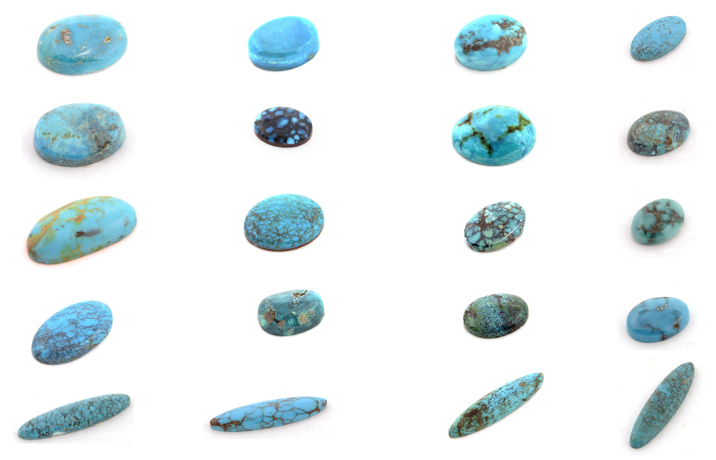 Different types and styles of turquoise