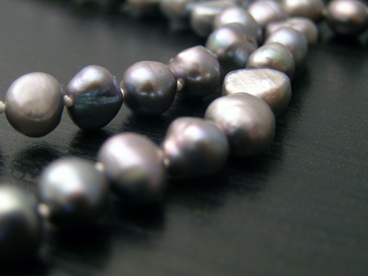 Freshwater black cultured pearls